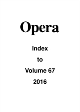 Opera Index Vol. 67 2016