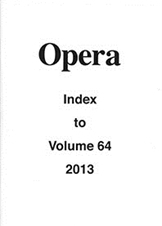 Opera Index Vol. 64 2013